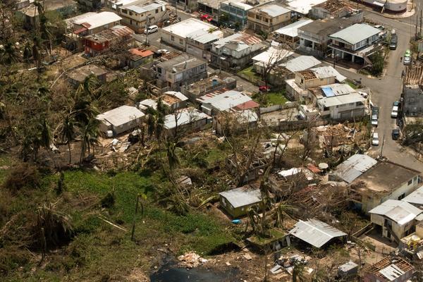 Damage from Hurricane Maria is seen in upon landing at Luis Muñoz Marin Airport near San Juan, Puerto Rico.