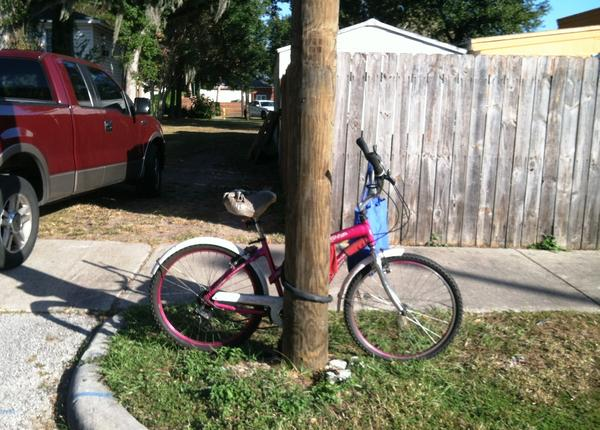 Ronald Felton's bicycle was still chained to a telephone pole after the shooting