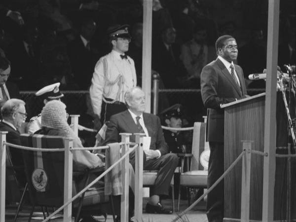 Robert Mugabe speaks at Zimbabwe's Independence Day in Salisbury, Zimbabwe, on April 16, 1980.