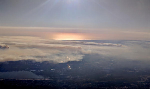 Aerial view of smoke from the Tubbs and Pocket fires which ravaged parts of Northern California's wine county in October.