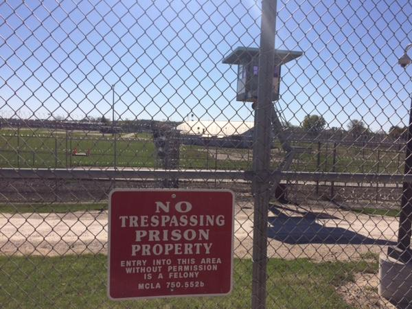 "A ""No Trespassing"" sign hangs outside the Handlon Correction Facility."