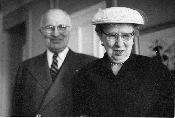 Photograph of Former President Harry S. Truman and Bess Truman, Smiling, ca. 1960