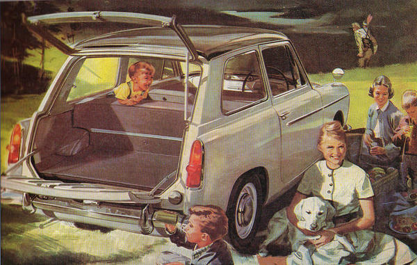A car advertisement from the late 1950's depicts the kind of family life that was common at the time.