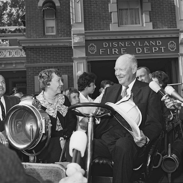 Former President Dwight D. Eisenhower and his wife visit Disneyland in 1961.