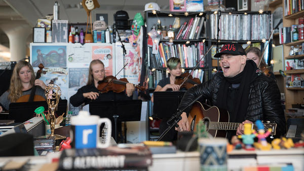 Billy Corgan performs a Tiny Desk Concert on Oct. 17, 2017. (Jennifer Kerrigan/NPR)