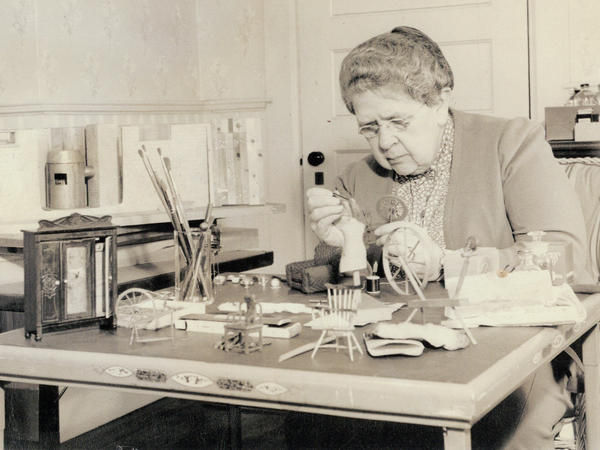 Frances Glessner Lee, at work on the Nutshells in the early 1940s.