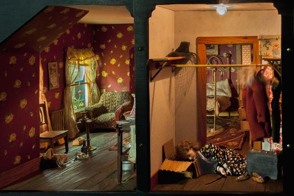 Frances Glessner Lee, <em>Red Bedroom</em>, about 1944-48.