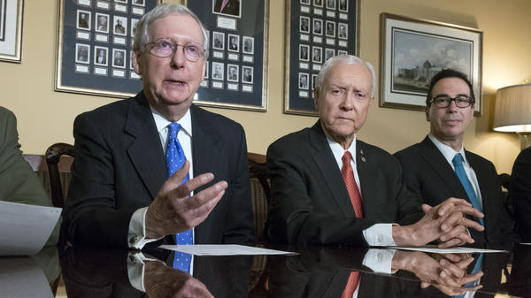 Senate Majority Leader Mitch McConnell, R-Ky., Senate Finance Committee Chairman Orrin Hatch, R-Utah, and Treasury Secretary Steven Mnuchin speak to reporters about the Senate's version of the GOP tax reform bill.