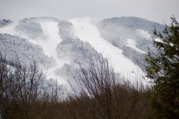 Recent cold temperatures have helped snowmakers cover Superstar Trail and nearby training trail for the upcoming Women's World Cup.