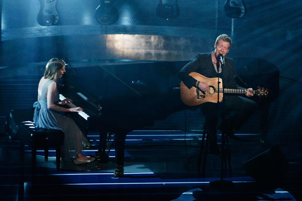 "Marketa Irglova and Glen Hansard perform ""Falling Slowly"" from <em>Once</em> during the 80th Annual Academy Awards held at the Kodak Theatre in Los Angeles on Feb. 24, 2008."