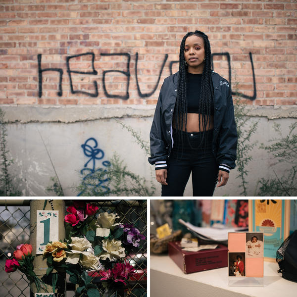 Top: Jamila Woods began exploring poetry the summer before her senior year of high school. Left: Plastic memorial flowers rest in Chicago's Pilsen neighborhood. Right: Pictures of Jamila Woods as an infant with her parents rest on the windowsill at her apartment in Pilsen.