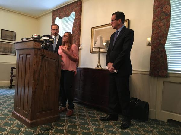 Attorney Glenn Formica, Miriam Martinez-Lemus, and Governor Dannel Malloy (left to right) attend a press conference at the Quinnipiac Club in New Haven calling on ICE to grant a deportation stay.