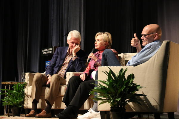 Former President Bill Clinton, former Secretary of State Hillary Clinton, and political strategist James Carville