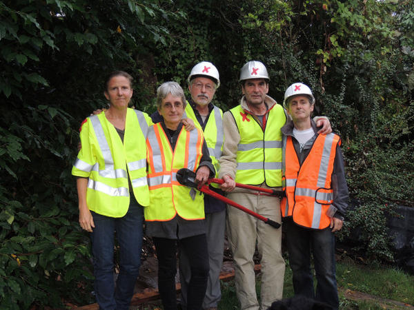 <p>The five climate activists arrested after shutting down Canada-to-U.S. pipelines pose for a photo. They were identified by Climate Direct Action as (left to right): Emily Johnson, Annette Klapstein, Leonard Higgins, Ken Ward, and Michael Foster.</p>