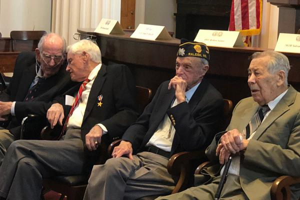 Four World War II veterans were honored with Legion of Honor awards at a Raleigh ceremony.  From left: Morton Jacobs of New Bern, John P. Irby, III of Raleigh, Robert C. Senter of Fuquay-Varina, and Salvatore Maiello of Fayetteville.