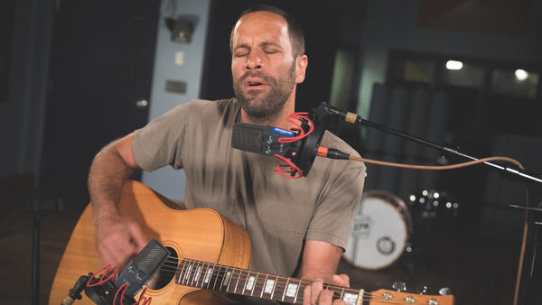 Jack Johnson inside the World Cafe performance studio at WXPN in Philadelphia, Penn.