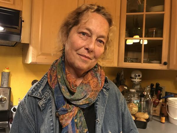 MaryJane Sarvis in her friend's kitchen in Southwest Vermont.