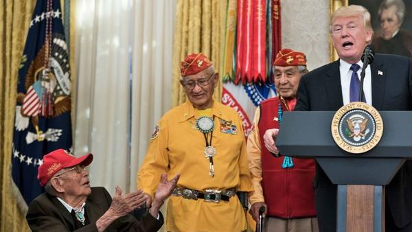 President Trump speaks in the Oval Office of the White House during an event to honor Navajo Code Talkers who served in World War II.