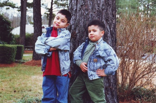 Six year old Sijal Nasralla poses with his brother Layth in Charlotte, NC.