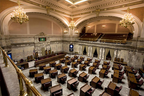 File photo. The Washington Senate has two viewing galleries where the public sits perched above the Senate floor.