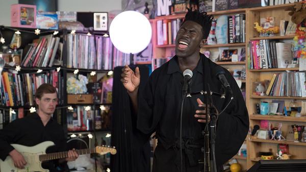 Moses Sumney performs a Tiny Desk Concert on Oct. 13, 2017 (Jennifer Kerrigan/NPR)