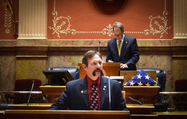 Sen. Randy Baumgardner on the Senate floor, March 13, 2016. Baumgardner has had a formal sexual harassment complaint filed against him for alledgedly grabbing and slapping a former legislative aide on the buttocks.