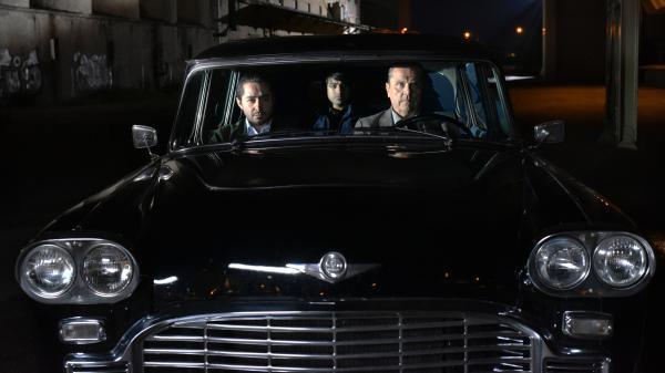 L to R: Khaled (Sherwan Haji), Mazdak (Simon Al-Bazoon) and Waldemar (Sakari Kuosmanen) in <em>The Other Side of Hope</em>.