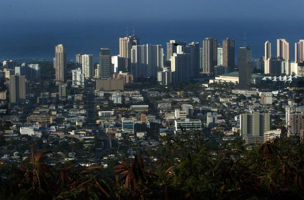 The skyline of Honolulu, Hawaii, is seen from Tantalus Mountain in 2005. (Lucy Pemoni/AP)