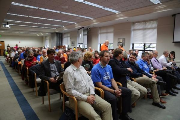 <p>Supporters and opponents of the oil terminal project filled the special EFSEC meeting in Olympia. Two overflow rooms were opened to handle the crowds.</p>