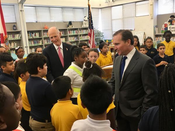 Governor Rick Scott (left) and Mayor Lenny Curry talk to Duval students Wednesday morning.