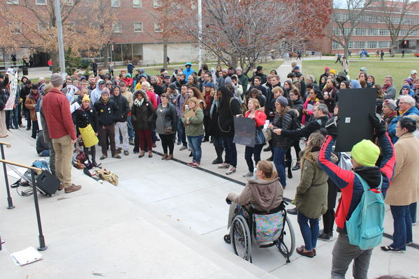SU students at Wednesday's protest.