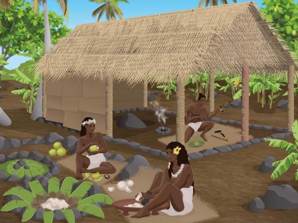 A panel along the Archaeological Nature Trail in the 'Opunohu Valley on the island Mo'orea shows a rectangular structure that served as a craft making area. Evidence shows the interior was used for manufacturing adzes. Outside, breadfruit paste was fermented in underground pits — and there is extensive evidence of cooking.