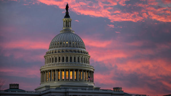 The U.S. Capitol at dawn on Thursday, hours before the Senate began debate on a sweeping GOP tax bill.