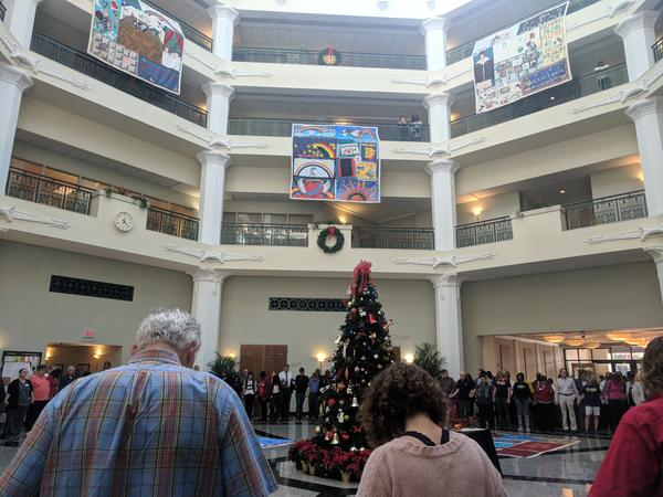 The City of Jacksonville held a ceremony Monday to honor AIDA victims and display a portion of the AIDS quilt.
