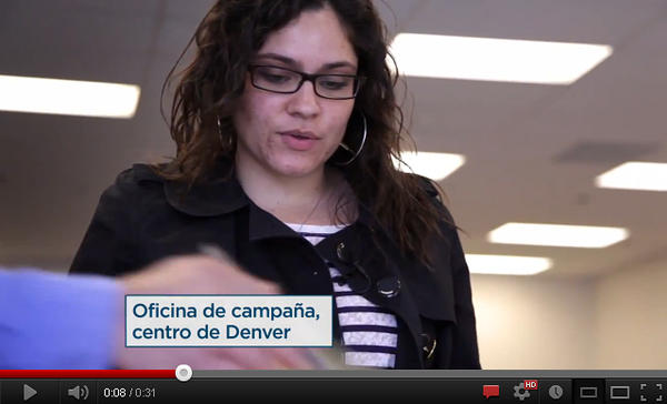Daniella Urbina, a field organizer for President Obama in Denver, appears in a Spanish-language campaign ad.