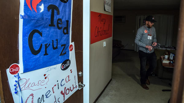 """Jerry Dunleavy stands inside his dorm room at """"Camp Cruz,"""" on the campus of AIB College of Business in Des Moines. Dunleavy, from Cleveland, quit his job and went to Iowa, leaving everything behind, to campaign for Ted Cruz."""