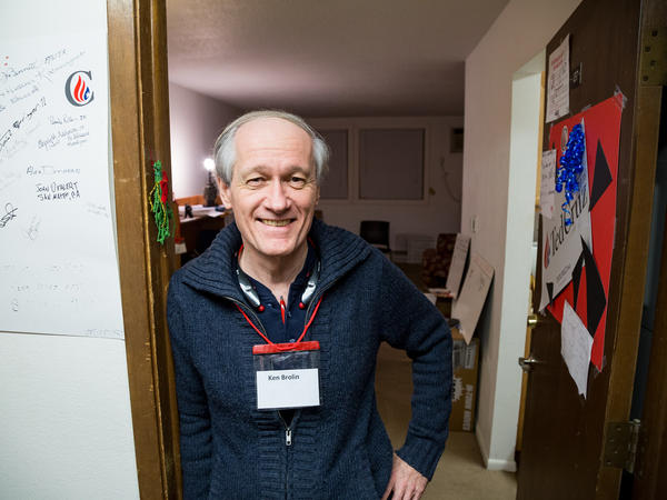 Managing Camp Cruz — think of him as an RA — is the job of Ken Brolin, a Cruz volunteer from Long Island, N.Y. Brolin is up early every morning to bang on the volunteers' doors and get them pumped up.