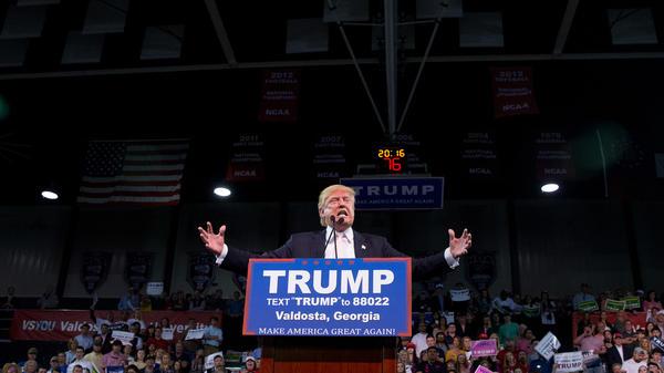 Republican presidential candidate Donald Trump speaks Monday at a rally at Valdosta State University in Valdosta, Ga.
