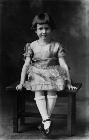"Cleary, shown at age 6, grew up on a farm. She remembers she had a ""very bad adjustment"" to school when her family moved to Portland."