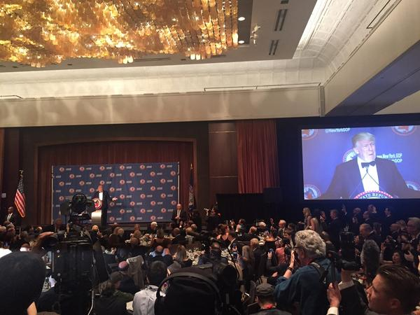 Republican presidential candidate Donald Trump speaks to a New York state GOP fundraiser in Manhattan on Thursday night.