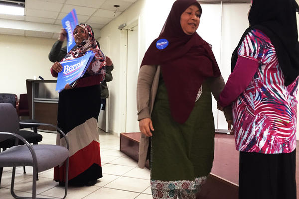 Hoshneara Begum (left) and other volunteers with the Bangladeshi American Advocacy Group held a phone bank for the Bernie Sanders campaign in Jamaica, N.Y.