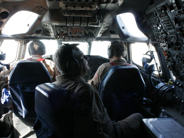 "NASA scientists measure air quality aboard one of NASA's three ""flying air quality labs"" over the Korean peninsula in April."