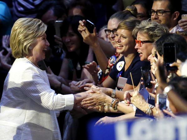 Democratic presidential candidate Hillary Clinton is greeted by supporters as she arrives at a presidential primary election night rally on June 7 in New York.