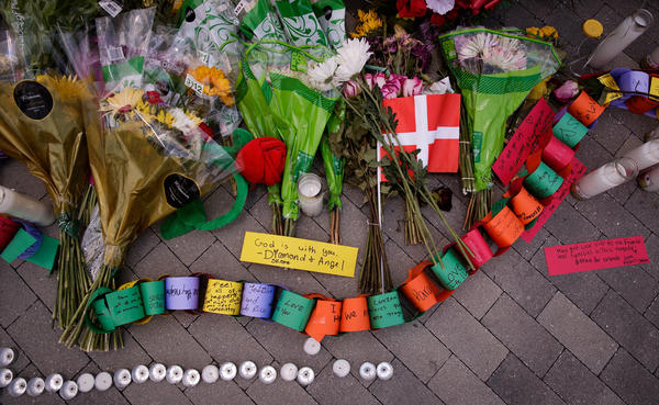 A makeshift memorial for the victims of the Pulse Nightclub shooting near Orlando Regional Medical Center on June 14 in Florida.