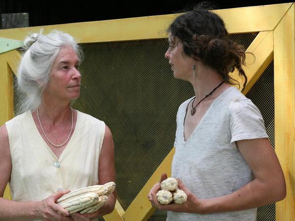 Jennifer Gleason (left) and Alice Melendez, who's growing Hickory King heirloom corn on her farm to help Gleason make corn chips.