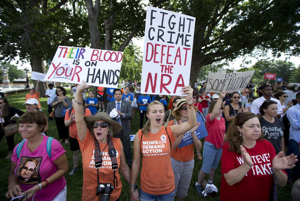 Protesters call for House Speaker Paul Ryan to allow votes on gun violence prevention legislation in Washington, D.C., on July 6.