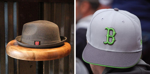 Fedoras are allowed as long as they are in subtle patterns and colors. Baseball caps with sports logos are not allowed.