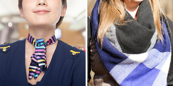 Apparently, it's OK to channel your inner flight attendant with a short neck scarf if you work at Starbucks. (Note: Actual stock image of flight attendant pictured.) But a more stylish long or loose scarf? Still verboten.