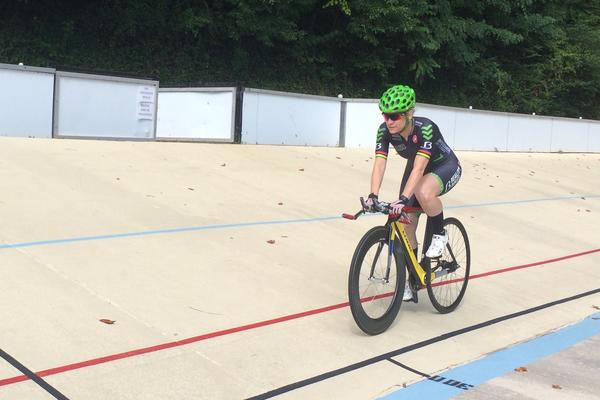 Jennifer Schuble trains at the velodrome in Atlanta this summer before the Paralympics, which begin Sept. 7 in Rio de Janeiro.