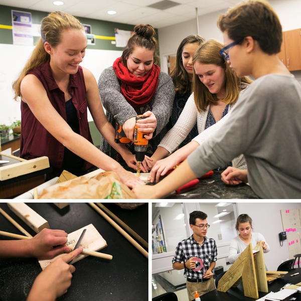 (Top) A group of girls works on a project in physical science class at the Global Impact STEM Academy in Springfield. (Left) Hayley Milliron wants to go into engineering or animal science after high school. (Right) Joey Durham and Jada Keplinger, both sophomores, build a gravity xylophone in advanced physical science class.